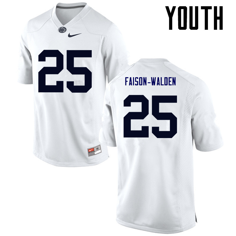 Youth Penn State Nittany Lions #25 Brelin Faison-Walden College Football Jerseys-White